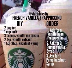 French Vanilla Frap I love working as a barista at Starbucks, and I've spent my time on Delishably writing a series of guides to help customers order the perfect drink. This guide covers how to make homemade, copycat Starbucks frappuccinos. More ideas… … Starbucks Secret Menu Drinks, Starbucks Coffee, Starbucks Hacks, Vanilla Frappe Recipes, Starbucks Drinks Without Coffee, How To Make Frappuccino, Bebidas Do Starbucks, How To Order Starbucks, Sweets