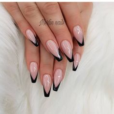 Trending gorgeous baby pink and black tipped nail art design. 23 manicure design ideas for any season.