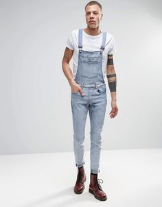 Dr+Denim+Ira+Skinny+Dungaree+Jeans+in+Blue+Stone+Light+Wash