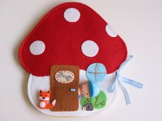 Robi szerelő és Rozsdi róka  szerelő-gombaműhelye - rendelésre!, Baba-mama-gyerek, Játék, Készségfejlesztő játék, Baba, babaház, Meska Handmade Toys, Handmade Crafts, Felt Doll House, Hobbies And Crafts, Diy Crafts For Kids, Felt Mushroom, Felt Books, Quiet Books, Cute Sewing Projects