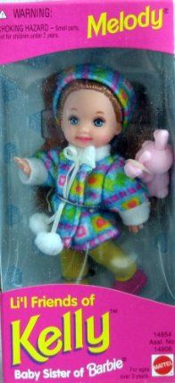 "Barbie - Li'l Friends of Kelly - Melody Doll - 1995 by Mattel. $13.95. CAUTION: Small Parts Included. PLEASE check in CONDITION NOTE/Comments for the Box Condition.. Sizes, colors, styles  info may vary. For Ages 3+ Years.. Melody Li'l Friend of Kelly Doll Baby Sister of Barbie Doll is great for any collection or for fun play!. Includes: 4.5"" Melody Doll w/reddish hair  blue eyes. Melody wears a Jacket, Pants, Head Band  Shoes  carries a pink Bunny approx. 1-..."