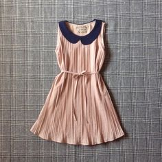nude pleated dress with peter pan collar best fits sizes xs, s + not modcloth + no trades + no modeling at this time ModCloth Dresses Mini