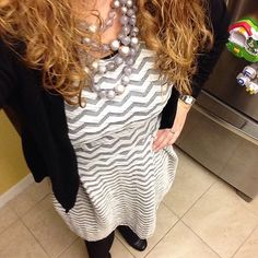 Like the grey beads with this dress.
