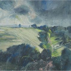Totnes, storm approaching . Sara Bee . layering gesso, acrylic & pastel