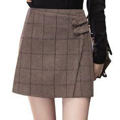 4f6ae72c92 Vintage England Style Winter Wool Skirt Women 2018 Autumn Thicken Woolen  Plaid Short Skirts Buttons Irregular Booty Mini Skirt