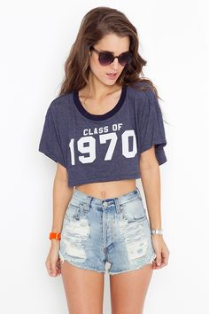 Class Of 70 Crop Tee and high waisted jean shorts :-)