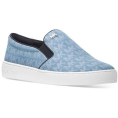 Michael Michael Kors Keaton Slip-On Logo Sneakers (2.045 CZK) ❤ liked on Polyvore featuring shoes, sneakers, denim, print shoes, print sneakers, stitch shoes, slip-on shoes and leopard print slip-on shoes