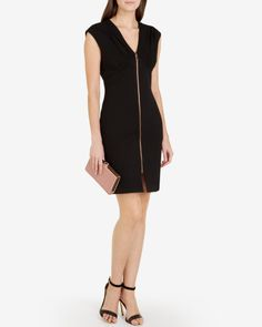 Zip front bodycon dress - Black | Dresses | Ted Baker ROW