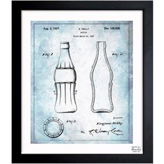 Oliver Gal 'Coca Cola Bottle 1937' Framed Blueprint Art