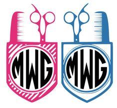 Hair Stylist monogram designs, SVG, DXF, EPS, Vinyl cutting files Silhouette Studio and Cricut.