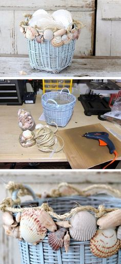 Decorate a Basket with Seashells | Click Pic for 18 DIY Seashell Craft Ideas for the Home | Easy Seashell Decorating Ideas on a Budget