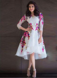Kajal Agarwal Off White Georgette Party Wear Kurti - Sale Western Dresses For Girl, Stylish Dresses For Girls, Stylish Dress Designs, Frocks For Teenager, Frocks For Girls, Party Wear Frocks, Gown Party Wear, Girls Party Wear, Indian Fashion Dresses