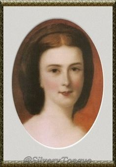 The young Empress Elisabeth in oval portrait.