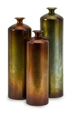 IMAX Home 12976-3 Tangerine Bottles - Set of 3 Home Decor Accents Decorative Bottles