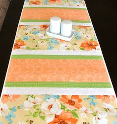 Spring Easter Table Runner  Coral Green by DesignItAgainCrafts, $32.00
