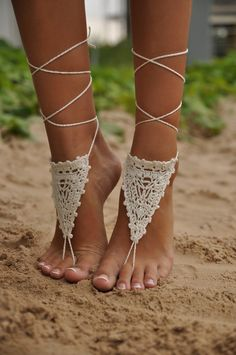 Crochet Ivory Barefoot Sandals, Nude shoes, Foot jewelry, Wedding, Victorian Lace, Sexy, Yoga, Anklet , Bellydance, Steampunk, Beach Pool. $12.00, via Etsy.