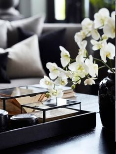 Flowers and side table