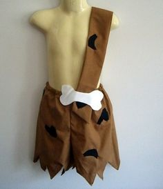 Bam Bam costume  boy  shorts with strap  Halloween by RaeGun, $39.50