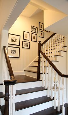 Stain stair treads, hand rails and newel posts dark with white treads and the stairwell will sing.