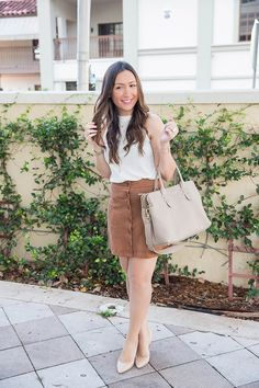 Faux suede skirt perfect for fall!