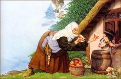 Charles Santore: Snow White (Branca de Neve - Madrasta oferece a maçã para Branca de Neve)