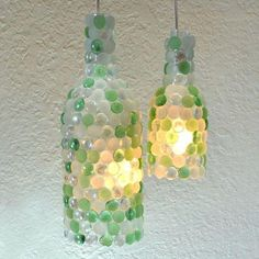Pendant lamps cast a pretty glow over any entertaining spread. Mix and match the glass pebbles to complement your decor. Get the tutorial here.