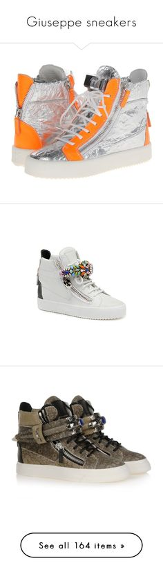 """""""Giuseppe sneakers"""" by missy-smallen ❤ liked on Polyvore featuring shoes, sneakers, colorless, round cap, zipper sneakers, giuseppe zanotti sneakers, polish shoes, lace up sneakers, giuseppe zanotti and canaveral argento"""