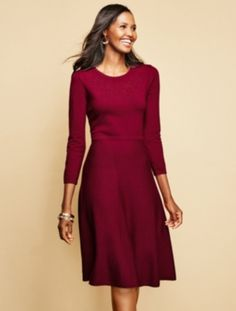 Talbots - Pointelle Fit-And-Flare Sweater Dress | Dresses |