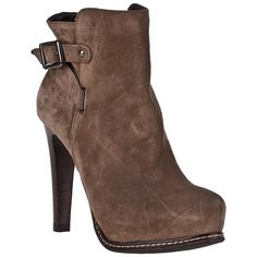 GASTONE LUCIOLI 5036 Ankle Boot Taupe Suede ($259) ❤ liked on Polyvore featuring shoes, boots, ankle booties, heels, booties, ankle boots, taupe suede, high heel booties, taupe booties and stacked heel booties