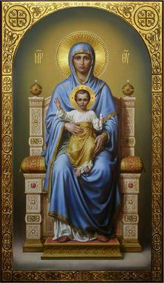 Theotokos on the throne, academic icon Religious Images, Religious Icons, Religious Art, Blessed Mother Mary, Blessed Virgin Mary, Catholic Prayers, Catholic Art, Catholic Pictures, Images Of Mary