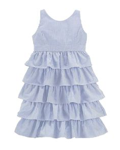 NWT Ralph Lauren Polo Girls Tiered Seersucker Sleeveless Dress Size 12 #RalphLauren #DressyPageantWedding
