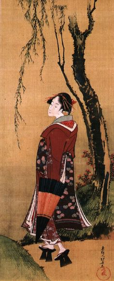 Beauty with an umbrella under a willow by Katsushika Hokusai