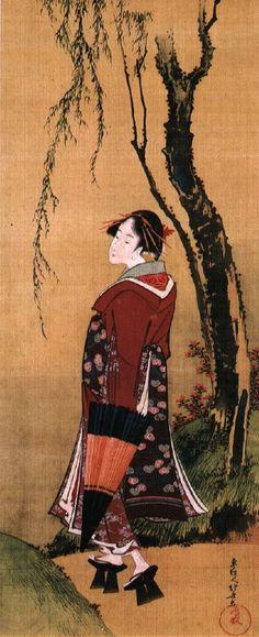 Katsushika Hokusai (Japanese, - Beauty with an Umbrella under a Willow Korean Painting, Japanese Painting, Chinese Painting, Chinese Art, Vincent Van Gogh, Art Occidental, Art Asiatique, Katsushika Hokusai, Art Japonais