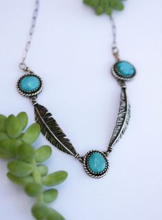 Natural Turquoise Necklace. Silver Feather by AppaloosaDesigns