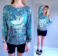 a00474706ab8c0 vtg 80s FLYING CRANE aqua SEQUIN Top Medium nye beaded silver bird phoenix  blouse nye disco