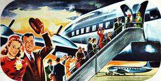 vintage travel airline ad airplane illustration 1940s