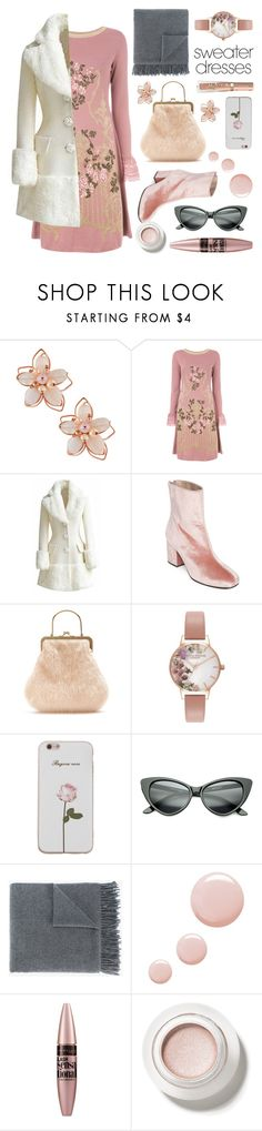 """""""Winter Blush - Sweater Dress"""" by dlmusiel ❤ liked on Polyvore featuring NAKAMOL, Alberta Ferretti, Free People, Shrimps, Olivia Burton, Acne Studios, Topshop, Maybelline, ankleboots and fauxfurcoat"""