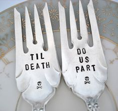 Hand Stamped Wedding Cake Forks - Set of 2 - Skull and Crossbones - Goth Wedding - Sheffield 1917 on Etsy, $37.00