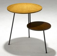 Mario Dal Fabbro; Stained and Enameled Ash Laminate Prototype Side Table, 1950s.