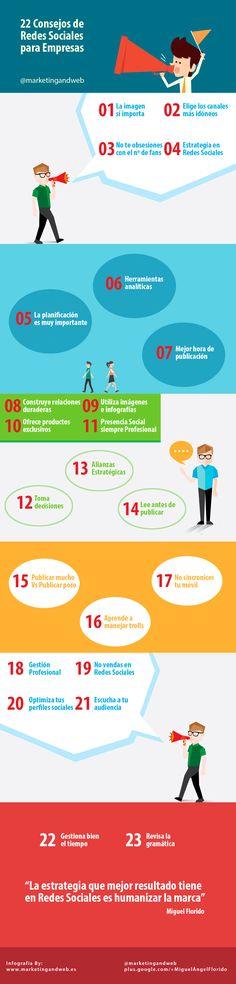 Consejos de Redes Sociales para Empresas #infografia by @marketingandweb