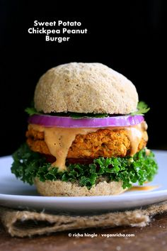 Sweet potato peanut burger Vegan Richa - Eating Plants till we Photosynthesize. Breads, Indian, Creative Vegan Recipes with whole, organic and healthy Ingredients. Most Gluten-free , Soy-free. By Richa Hingle Vegan Foods, Vegan Dishes, Vegan Vegetarian, Vegetarian Recipes, Healthy Recipes, Burger Recipes, Vegetarian Burgers, Healthy Dinners, Delicious Recipes