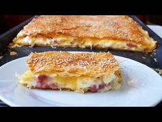 Ζαμπονοτυρόπιτα με κρέμα!!! - YouTube Cheese Puffs, Ham And Cheese, Cookbook Recipes, Cooking Recipes, Greek Cooking, Greek Recipes, French Toast, Sandwiches, Pie