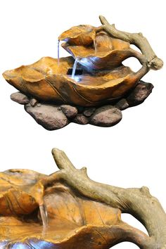Lighted Leaf Tabletop Fountain: Natural Styling Looks Like Real Wood And Foliage. Complete With White LED Lights.