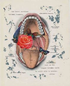 tongue & teeth - collage 2015 by deadcatcreations