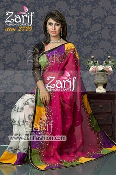 Bold & beautiful Jamdani sharee with stylish embroidery design featuring colorful border and karchupi works. Muslin blouse piece comes with saree.