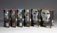 Muzx earphone package design for Altec Lansing by Fish Cat Design. www.fishcatdesign.net