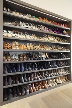 Walk In Closet Design, Bedroom Closet Design, Master Bedroom Closet, Wardrobe Design, Closet Designs, Shoe Room, Shoe Wall, Shoe Shelf In Closet, Shoe Shelves