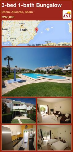 Bungalow for Sale in Denia, Alicante, Spain with 3 bedrooms, 1 bathroom - A Spanish Life Guest Toilet, Bungalows For Sale, Alicante Spain, Large Shower, Ground Floor, Terrace, Swimming Pools, Spanish, Exterior