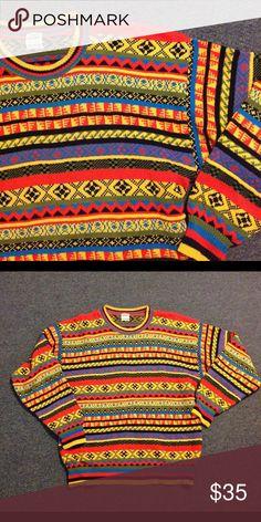 """Vintage Men's Colorful Print Sweater L XL Nice vintage men's sweater. Bold vibrant colorful design. 100% cotton - size is L/XL but please check measurements. Nice condition. Chest 47"""" Length 28"""" Vintage Sweaters Crewneck"""