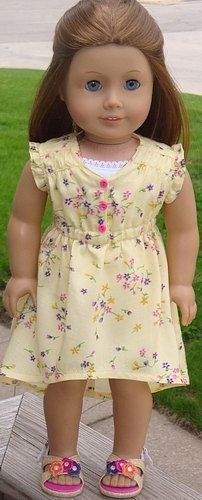 Spring Floral Dress For American Girl Or Similar 18-Inch Dolls